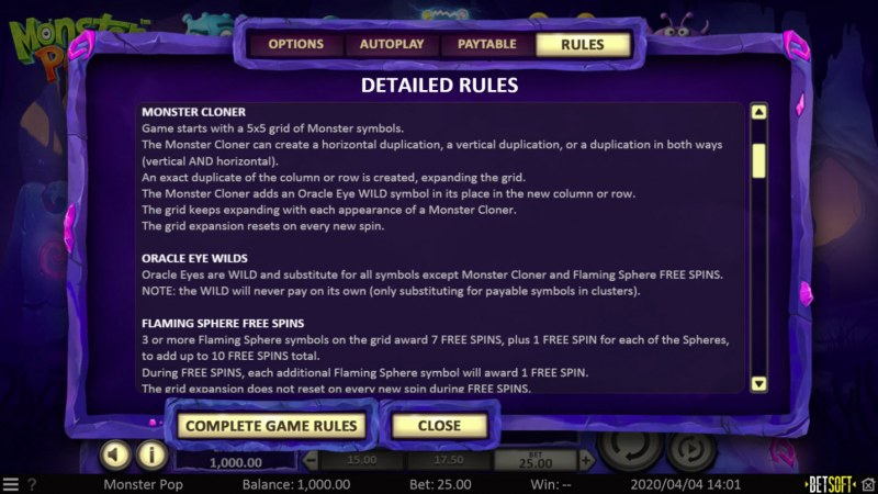 Monster Pop :: Feature Rules