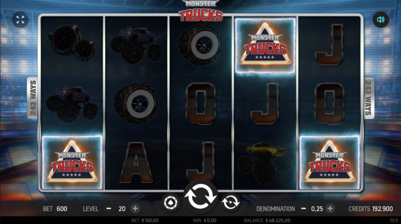 Monster Trucks :: Scatter symbols triggers the free spins feature