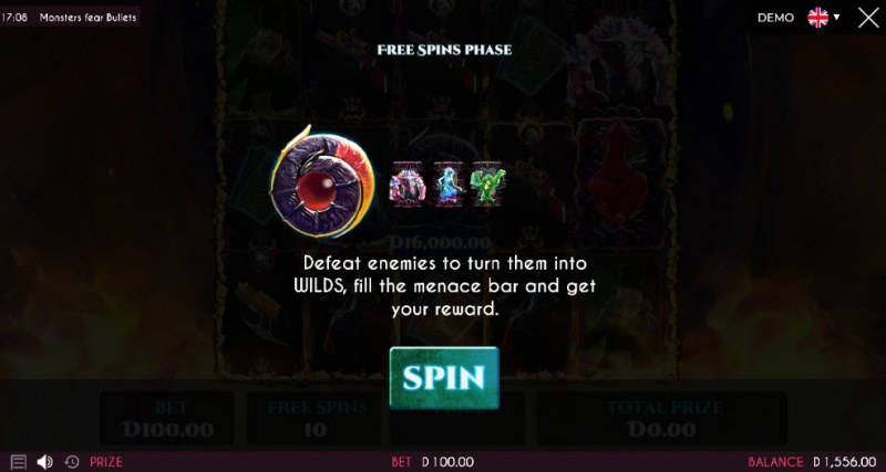 Monsters Fear Bullets :: 10 Free Spins Awarded