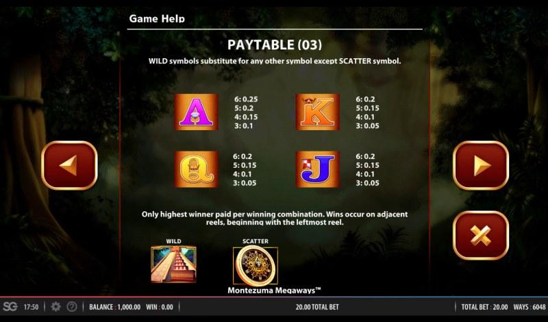 Montezuma Megaways :: Paytable - Low Value Symbols
