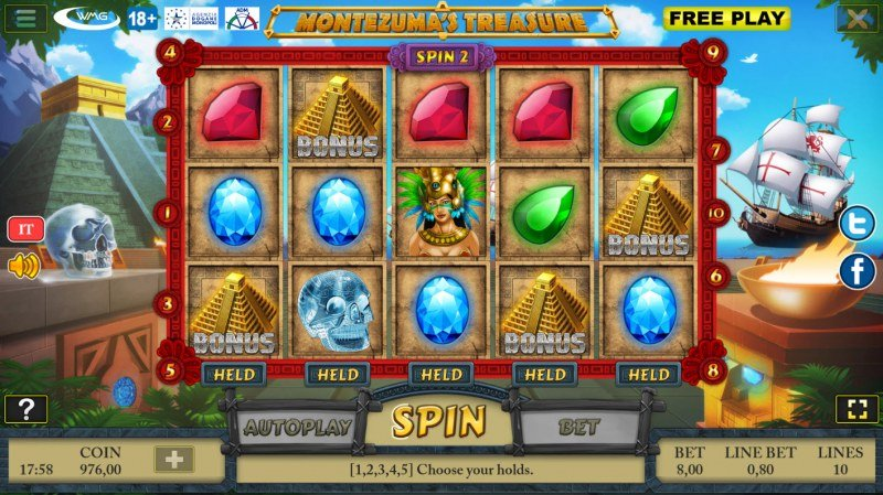 Montezuma's Treasure :: Scatter symbols triggers bonus feature