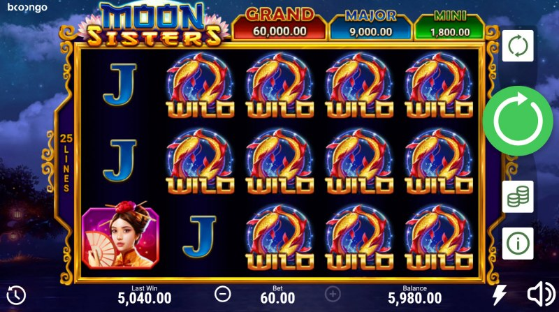 Moon Sisters Hold and Win :: Multiple winning combinations lead to a big win