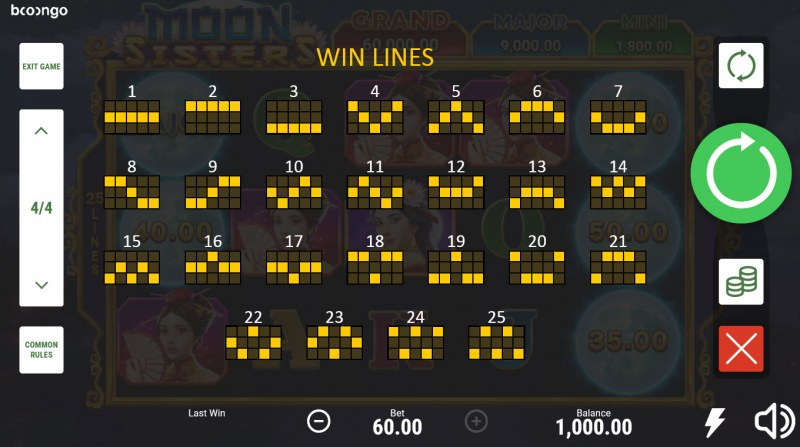 Moon Sisters Hold and Win :: Paylines 1-25