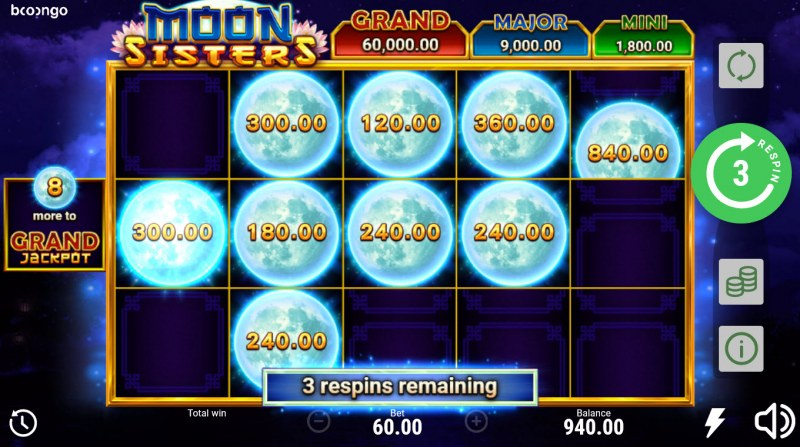Moon Sisters Hold and Win :: Land additional moon symbols to win prizes and extra respins