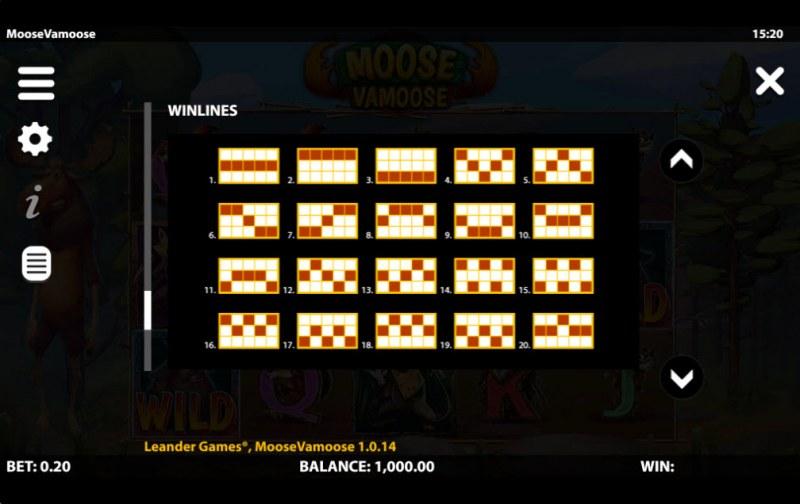 Moose Vamoose :: Paylines 1-20