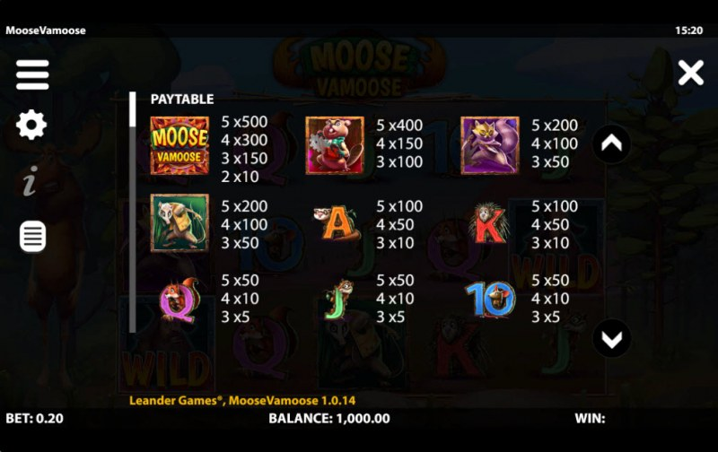 Moose Vamoose :: Paytable