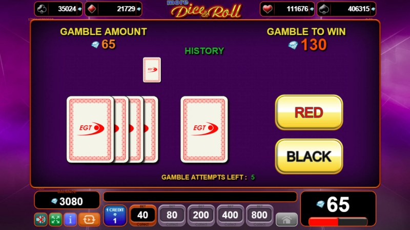 More Dice & Roll :: Black or Red Gamble Feature