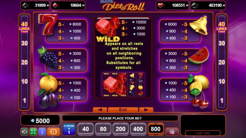 More Dice & Roll :: Paytable
