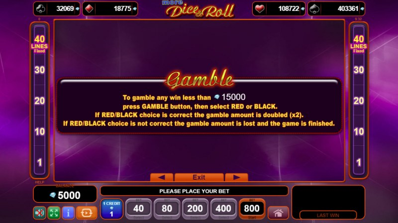 More Dice & Roll :: Gamble Feature Rules