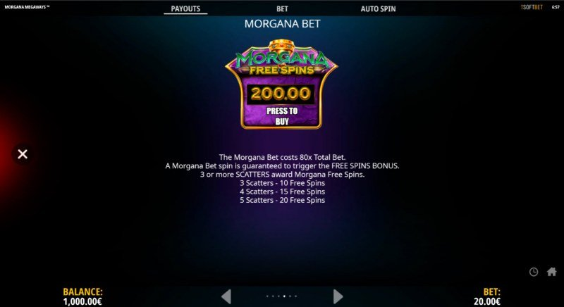 Morgana Megaways :: Buy Feature