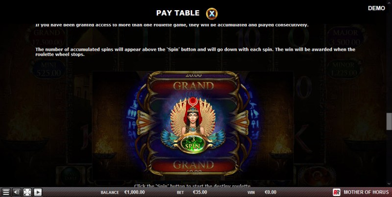 Play slots at King Tiger: King Tiger featuring the Video Slots Mother of Horus with a maximum payout of $17,500