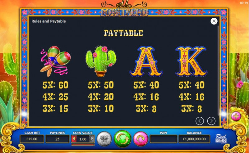Mr. Mostacho :: Paytable - Medium Value Symbols