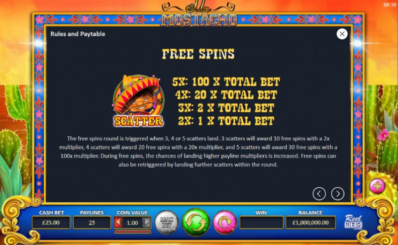 Mr. Mostacho :: Free Spins Rules