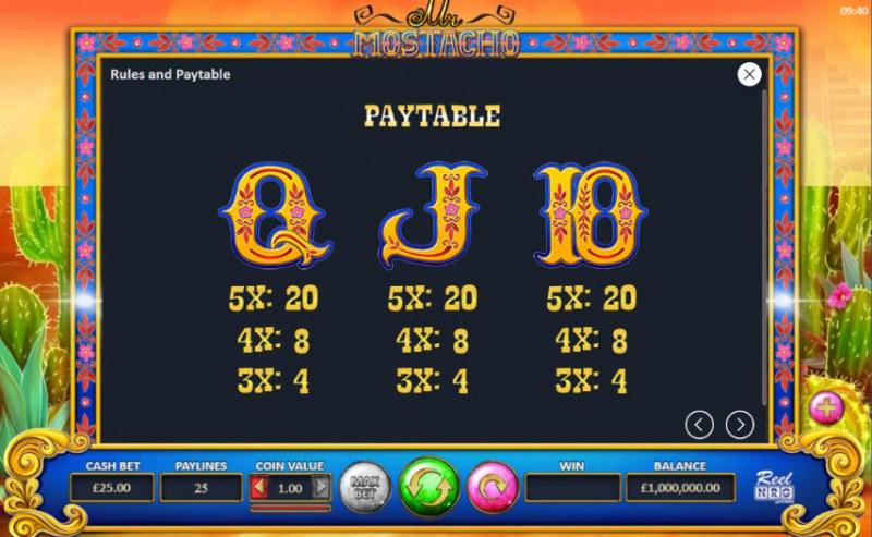 Mr. Mostacho :: Paytable - Low Value Symbols