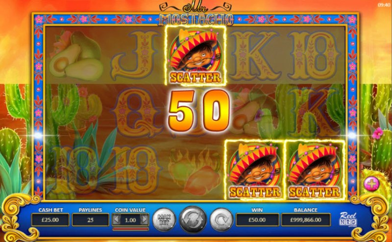 Mr. Mostacho :: Scatter symbols triggers the free spins feature