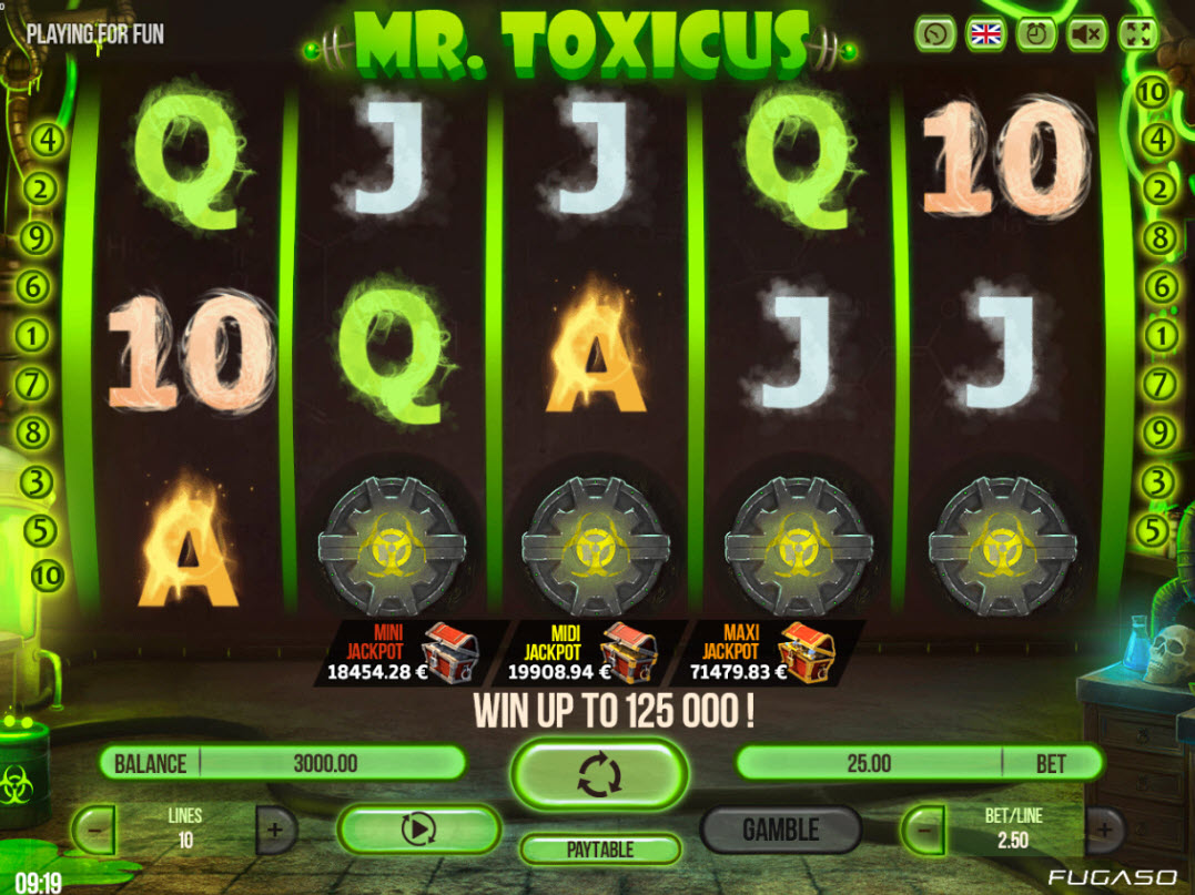 Play slots at Spintropolis: Spintropolis featuring the Video Slots Mr. Toxicus with a maximum payout of $250,000