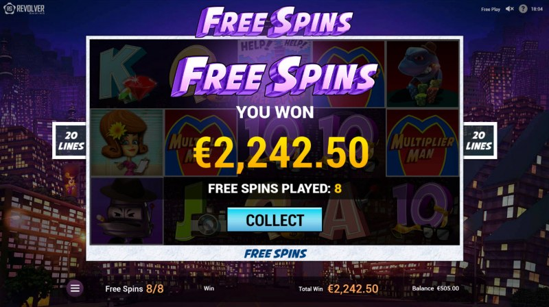 Multiplier Man :: Total free spins payout