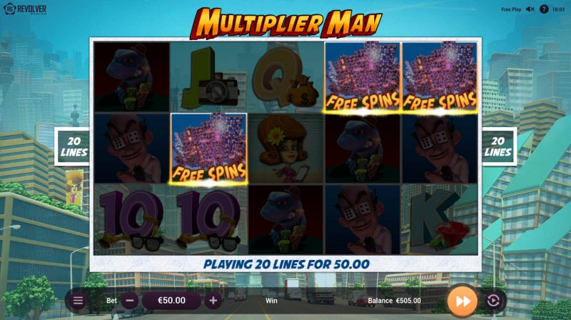 Multiplier Man :: Scatter symbols triggers the free spins feature