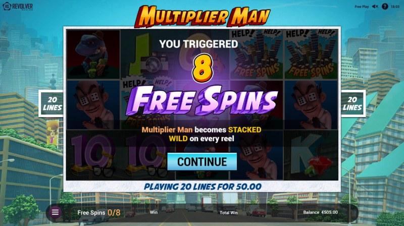 Multiplier Man :: 8 Free Spins Awarded