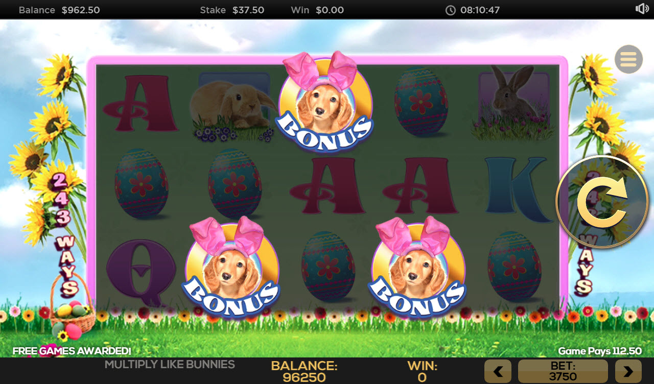 Multiply Like Bunnies :: Scatter symbols triggers the free spins feature