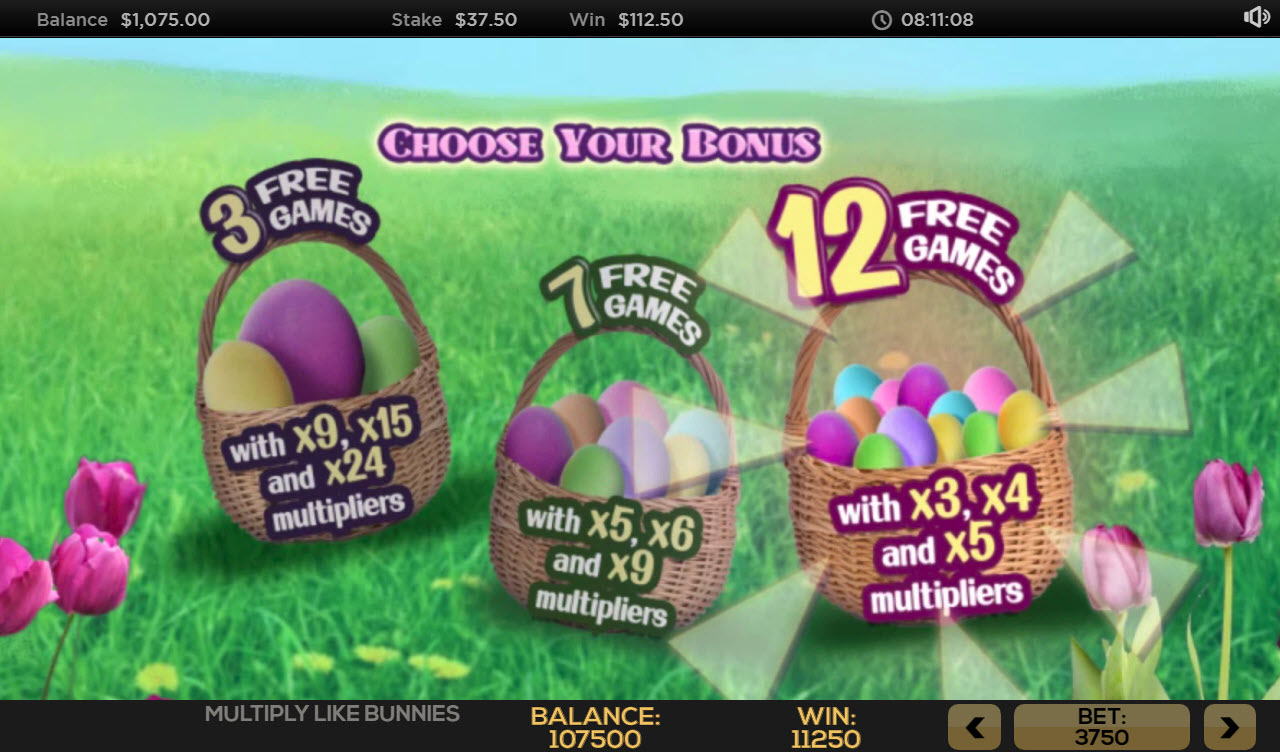 Multiply Like Bunnies :: 12 Free Spins Awarded