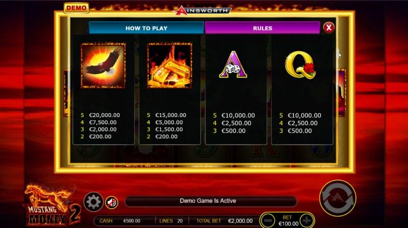 Mustang Money 2 :: Paytable - Medium Value Symbols