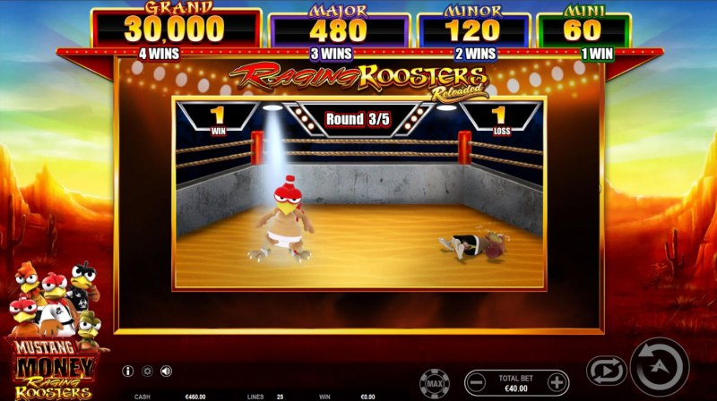 Mustang Money Raging Roosters :: You have 5 fight rounds to win