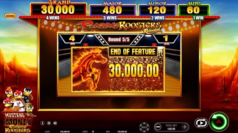 Mustang Money Raging Roosters :: Total Feature Payout