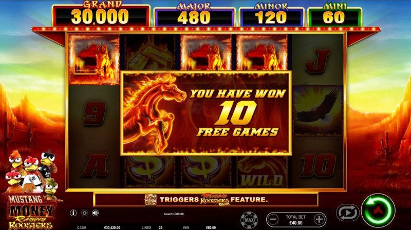 Mustang Money Raging Roosters :: 10 free spins awarded