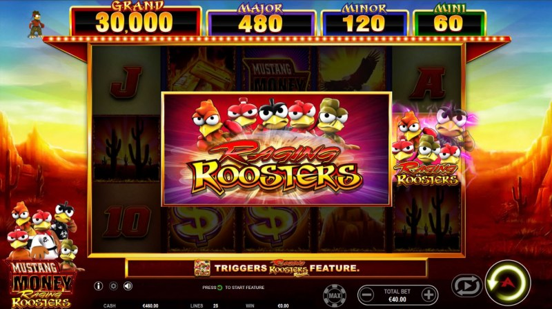 Mustang Money Raging Roosters :: Bonus Feature Triggered