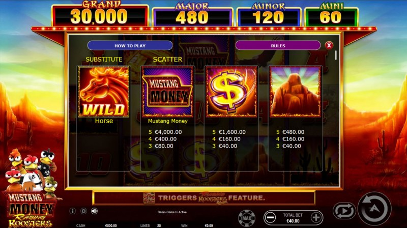 Mustang Money Raging Roosters :: Paytable - High Value Symbols