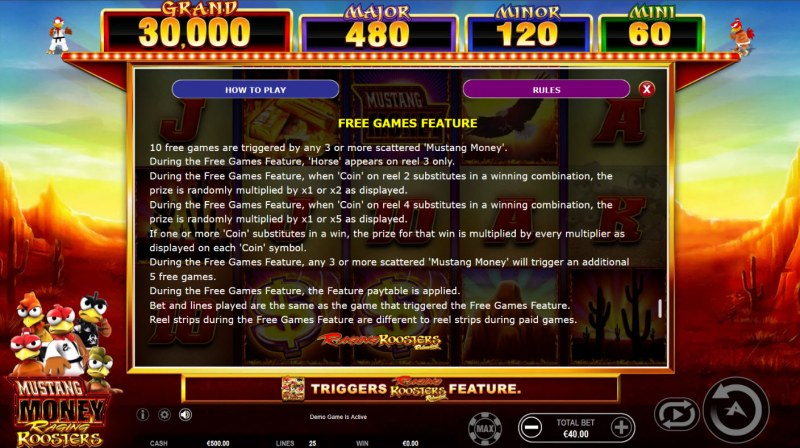 Mustang Money Raging Roosters :: Free Game Rules