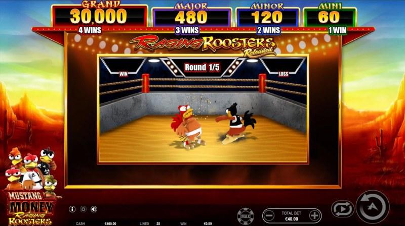 Mustang Money Raging Roosters :: Bonus game board
