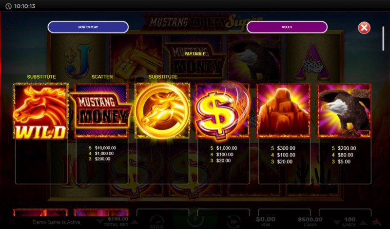 Mustang Money Super :: Paytable - High Value Symbols