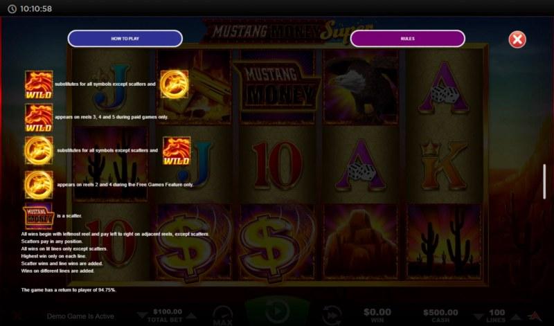 Mustang Money Super :: Wild Symbol Rules