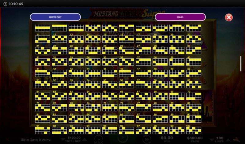 Mustang Money Super :: Paylines 1-100