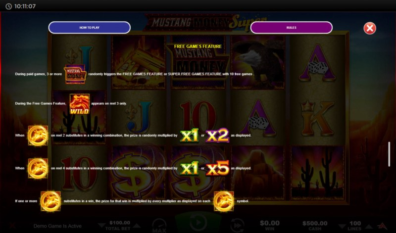 Mustang Money Super :: Free Spin Feature Rules