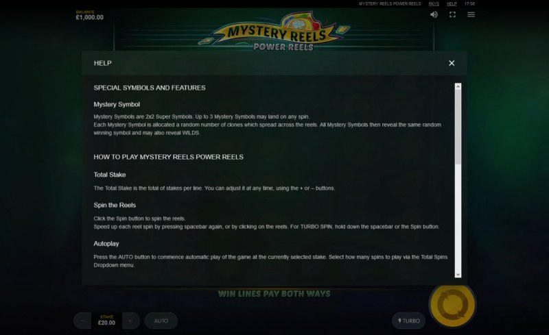 Mystery Reels Power Reels :: General Game Rules