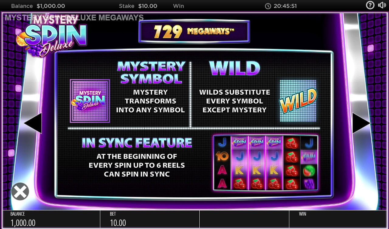 Mystery Spin Deluxe Megaways :: Feature Rules