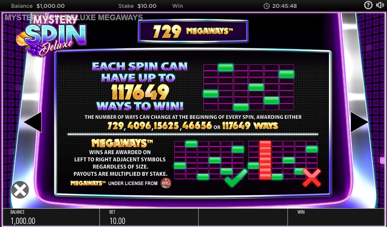 Mystery Spin Deluxe Megaways :: Up to 117649 ways to win