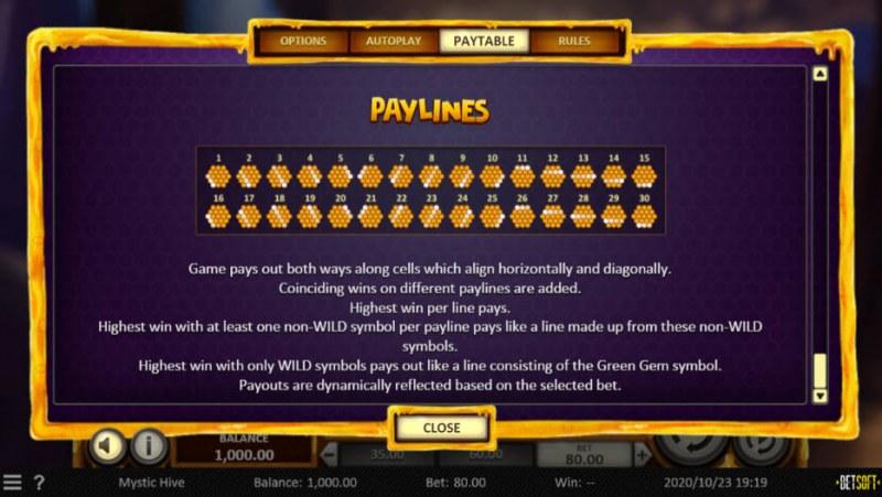 Mystic Hive :: Paylines 1-30