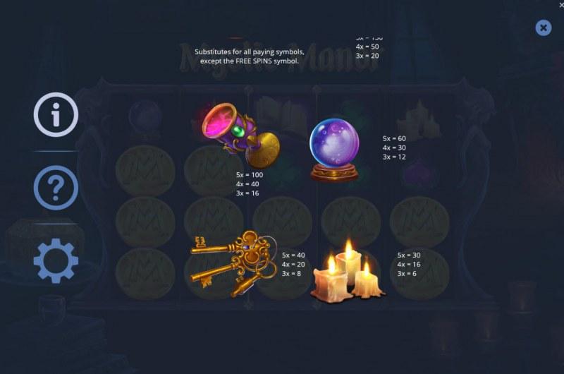 Mystic Manor :: Paytable - Medium Value Symbols
