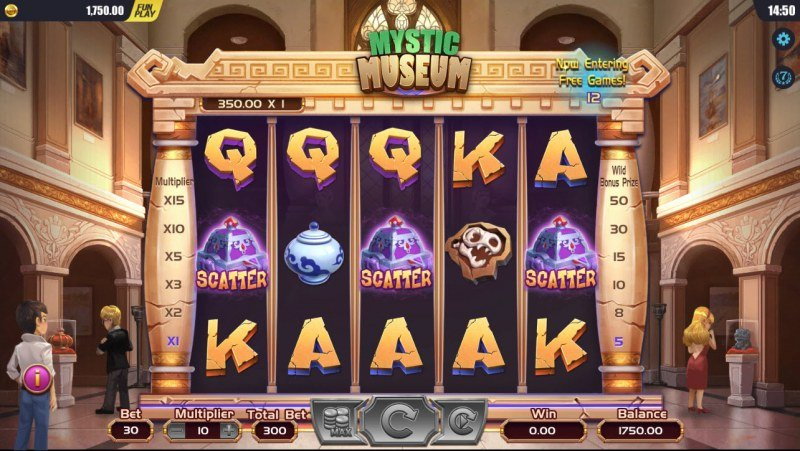 Mystic Museum :: Scatter symbols triggers the free spins feature