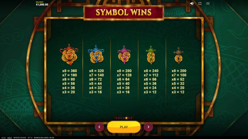 Mystic Staxx :: Paytable - Low Value Symbols