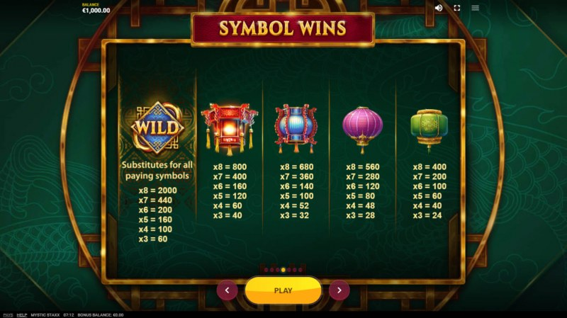 Mystic Staxx :: Paytable - High Value Symbols