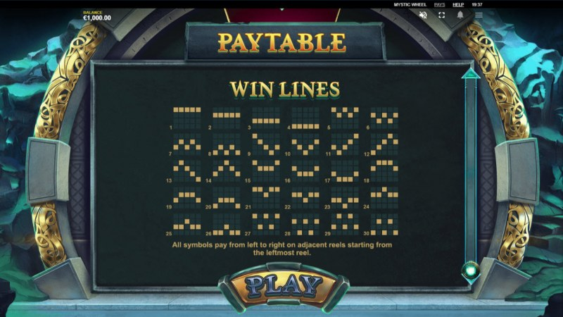Mystic Wheel :: Paylines 1-30