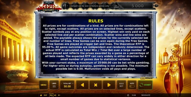 Myth of Medusa Gold :: General Game Rules