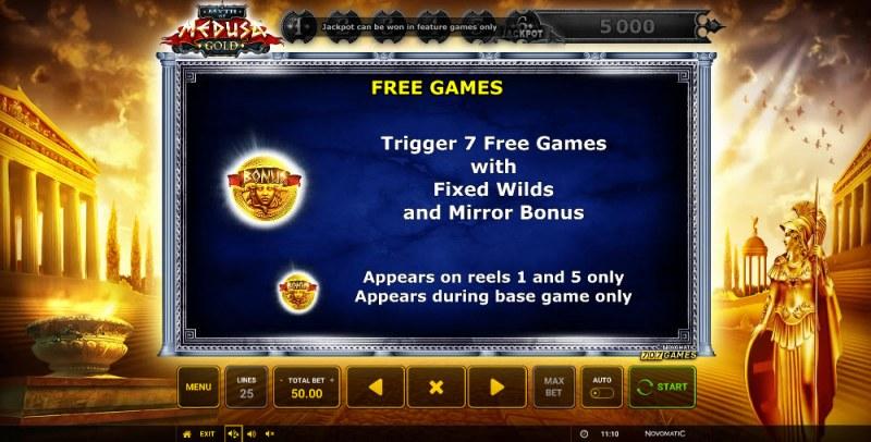 Myth of Medusa Gold :: Free Spins Rules