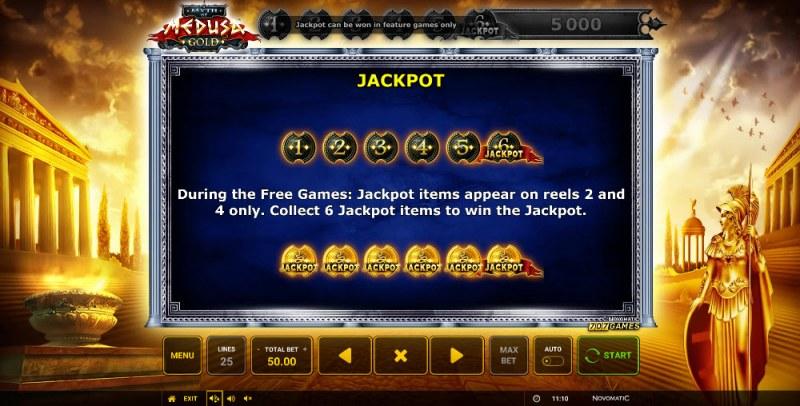 Myth of Medusa Gold :: Jackpot Rules