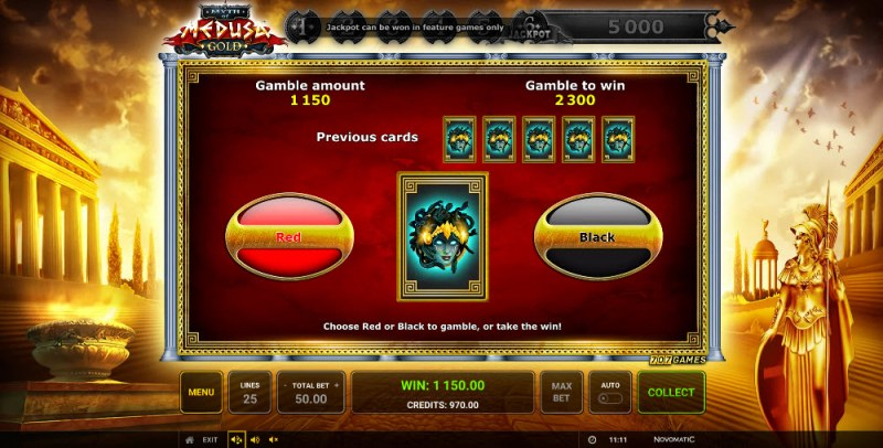 Myth of Medusa Gold :: Red or Black Gamble Feature